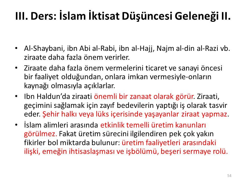 III. Ders: İslam İktisat Düşüncesi Geleneği II. Al-Shaybani, ibn Abi al-Rabi, ibn al-Hajj, Najm al-din al-Razi vb. ziraate daha fazla önem verirler. Z