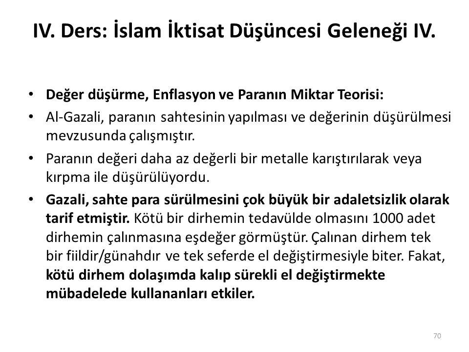IV. Ders: İslam İktisat Düşüncesi Geleneği IV. Değer düşürme, Enflasyon ve Paranın Miktar Teorisi: Al-Gazali, paranın sahtesinin yapılması ve değerini
