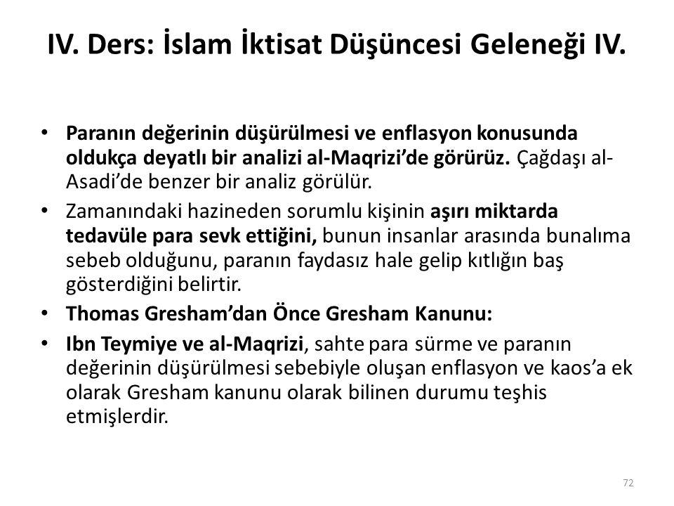 IV. Ders: İslam İktisat Düşüncesi Geleneği IV. Paranın değerinin düşürülmesi ve enflasyon konusunda oldukça deyatlı bir analizi al-Maqrizi'de görürüz.