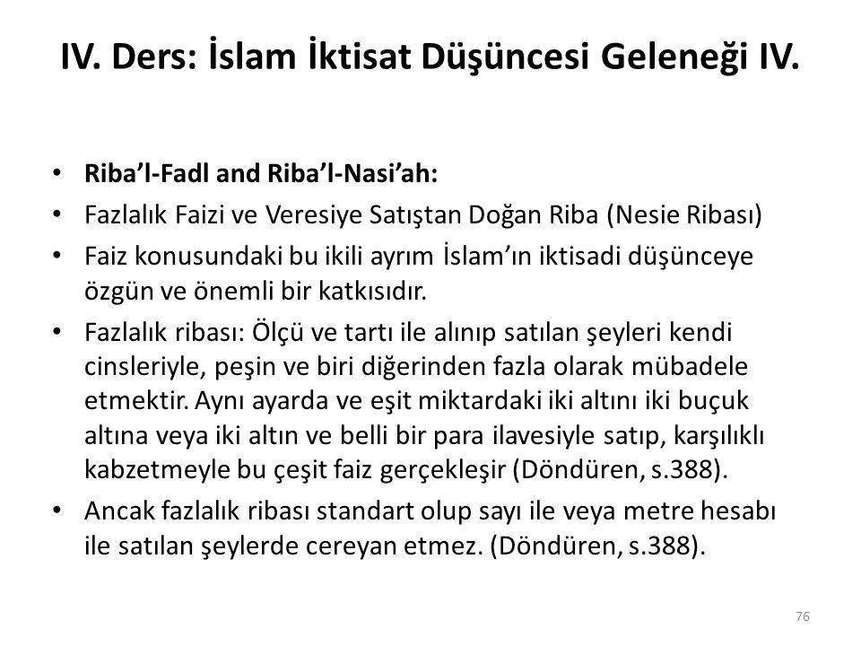 IV. Ders: İslam İktisat Düşüncesi Geleneği IV. Riba'l-Fadl and Riba'l-Nasi'ah: Fazlalık Faizi ve Veresiye Satıştan Doğan Riba (Nesie Ribası) Faiz konu
