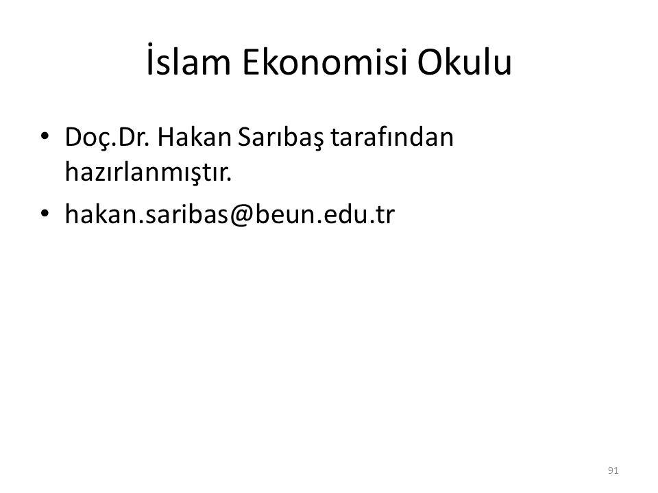 İslam Ekonomisi Okulu Doç.Dr. Hakan Sarıbaş tarafından hazırlanmıştır. hakan.saribas@beun.edu.tr 91