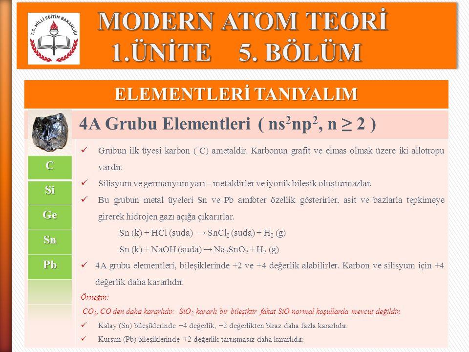 ELEMENTLERİ TANIYALIM 4A Grubu Elementleri ( ns 2 np 2, n ≥ 2 ) Grubun ilk üyesi karbon ( C) ametaldir. Karbonun grafit ve elmas olmak üzere iki allot