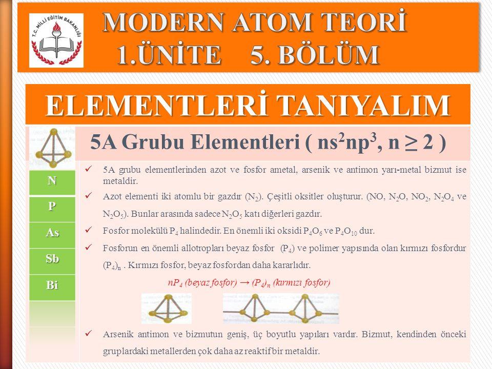 ELEMENTLERİ TANIYALIM 5A Grubu Elementleri ( ns 2 np 3, n ≥ 2 ) 5A grubu elementlerinden azot ve fosfor ametal, arsenik ve antimon yarı-metal bizmut i