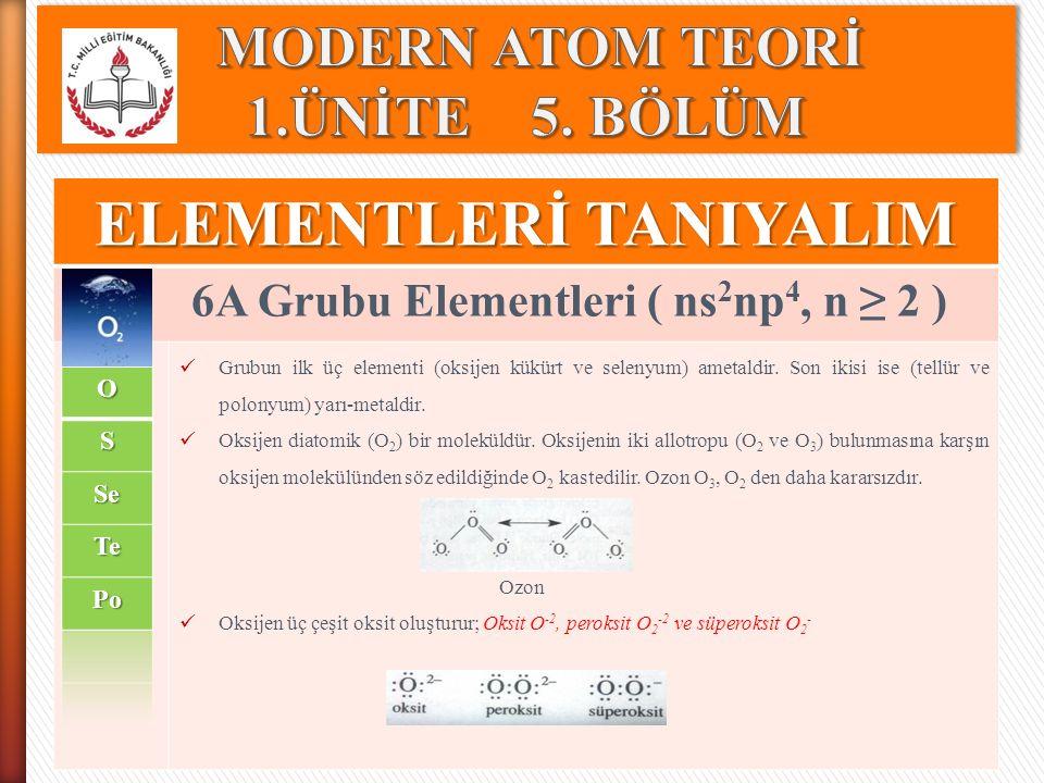 ELEMENTLERİ TANIYALIM 6A Grubu Elementleri ( ns 2 np 4, n ≥ 2 ) Grubun ilk üç elementi (oksijen kükürt ve selenyum) ametaldir. Son ikisi ise (tellür v