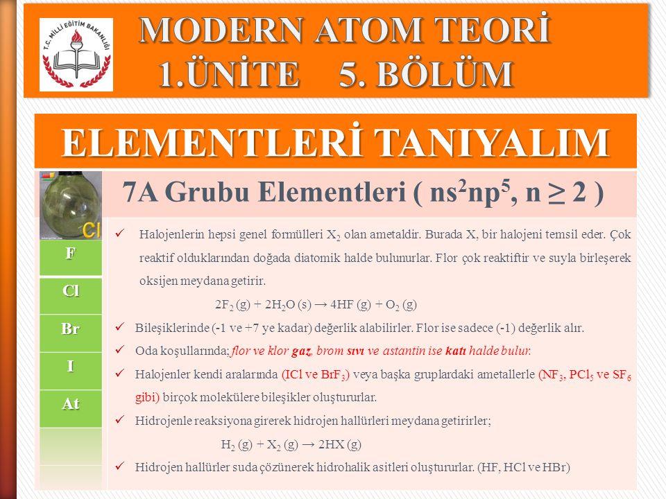 ELEMENTLERİ TANIYALIM 7A Grubu Elementleri ( ns 2 np 5, n ≥ 2 ) Halojenlerin hepsi genel formülleri X 2 olan ametaldir. Burada X, bir halojeni temsil