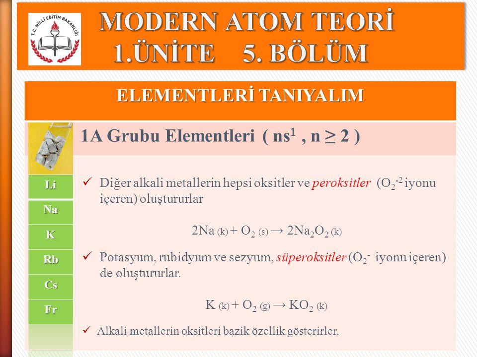 ELEMENTLERİ TANIYALIM 1A Grubu Elementleri ( ns 1, n ≥ 2 ) Diğer alkali metallerin hepsi oksitler ve peroksitler (O 2 -2 iyonu içeren) oluştururlar 2N