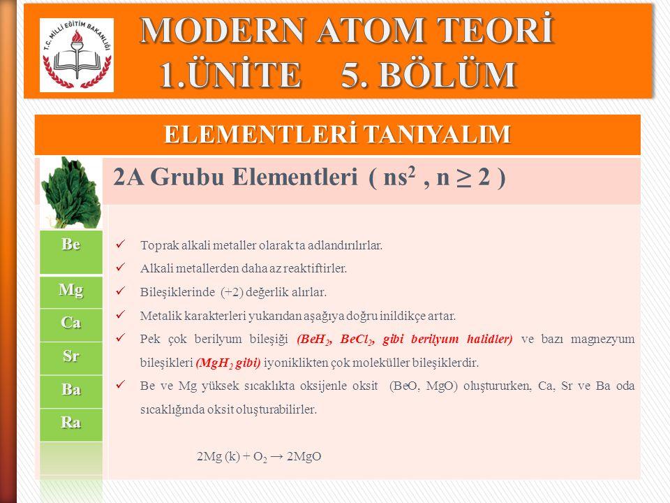 ELEMENTLERİ TANIYALIM 2A Grubu Elementleri ( ns 2, n ≥ 2 ) Toprak alkali metaller olarak ta adlandırılırlar. Alkali metallerden daha az reaktiftirler.