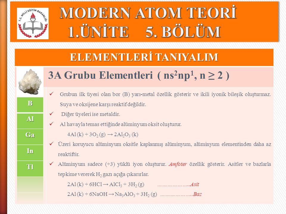 ELEMENTLERİ TANIYALIM 3A Grubu Elementleri ( ns 2 np 1, n ≥ 2 ) Grubun ilk üyesi olan bor (B) yarı-metal özellik gösterir ve ikili iyonik bileşik oluş