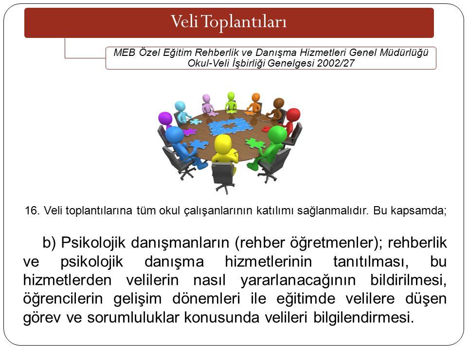 Veli Toplantıları MEB Özel Eğitim Rehberlik ve Danışma Hizmetleri Genel Müdürlüğü Okul-Veli İşbirliği Genelgesi 2002/27 16.