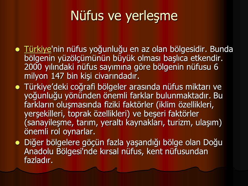 Nüfus ve yerleşme Türkiye'nin nüfus yoğunluğu en az olan bölgesidir. Bunda bölgenin yüzölçümünün büyük olması başlıca etkendir. 2000 yılındaki nüfus s