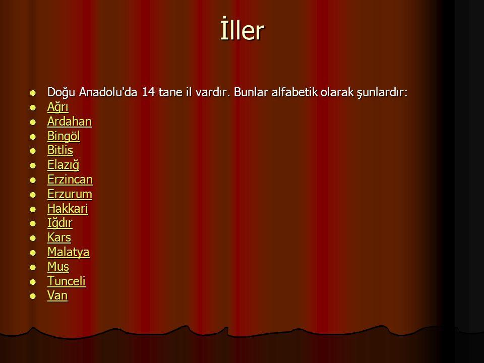İller Doğu Anadolu'da 14 tane il vardır. Bunlar alfabetik olarak şunlardır: Doğu Anadolu'da 14 tane il vardır. Bunlar alfabetik olarak şunlardır: Ağrı