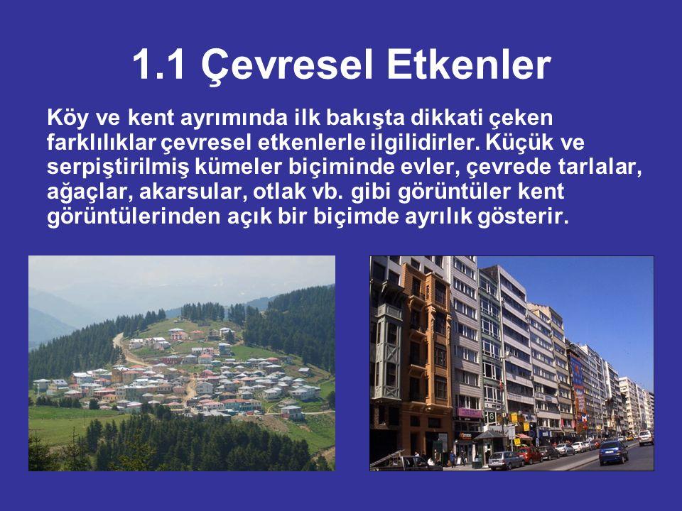 1.2 Sosyo –Ekonomik Etkenler Köy ve kent ayrımı için, Sosyo – ekonomik etkenler arasında  Nüfus yoğunluğu  Meslek yapısı  Gelir durumu  Yerleşim birimlerinin büyüklüğü  Nüfus hareketliliği