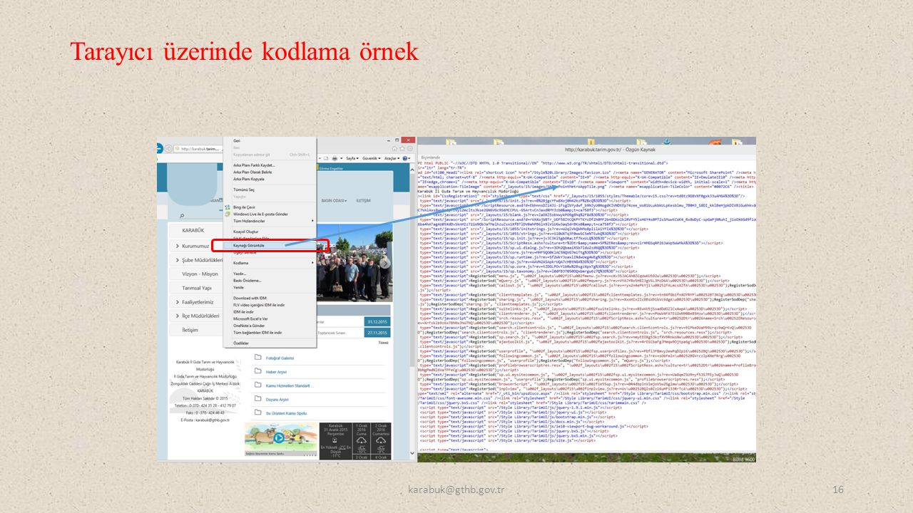 Tarayıcı üzerinde kodlama örnek karabuk@gthb.gov.tr16