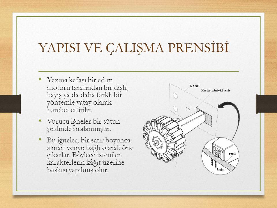 YAPISI VE ÇALIŞMA PRENSİBİ Yazma kafası bir adım motoru tarafından bir dişli, kayış ya da daha farklı bir yöntemle yatay olarak hareket ettirilir. Vur