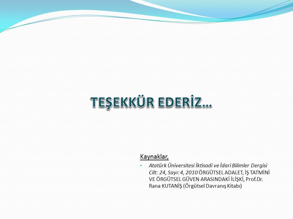 Kaynaklar, Atatürk Üniversitesi İktisadi ve İdari Bilimler Dergisi Cilt: 24, Sayı: 4, 2010 ÖRGÜTSEL ADALET, İŞ TATMİNİ VE ÖRGÜTSEL GÜVEN ARASINDAKİ İLİŞKİ, Prof.Dr.