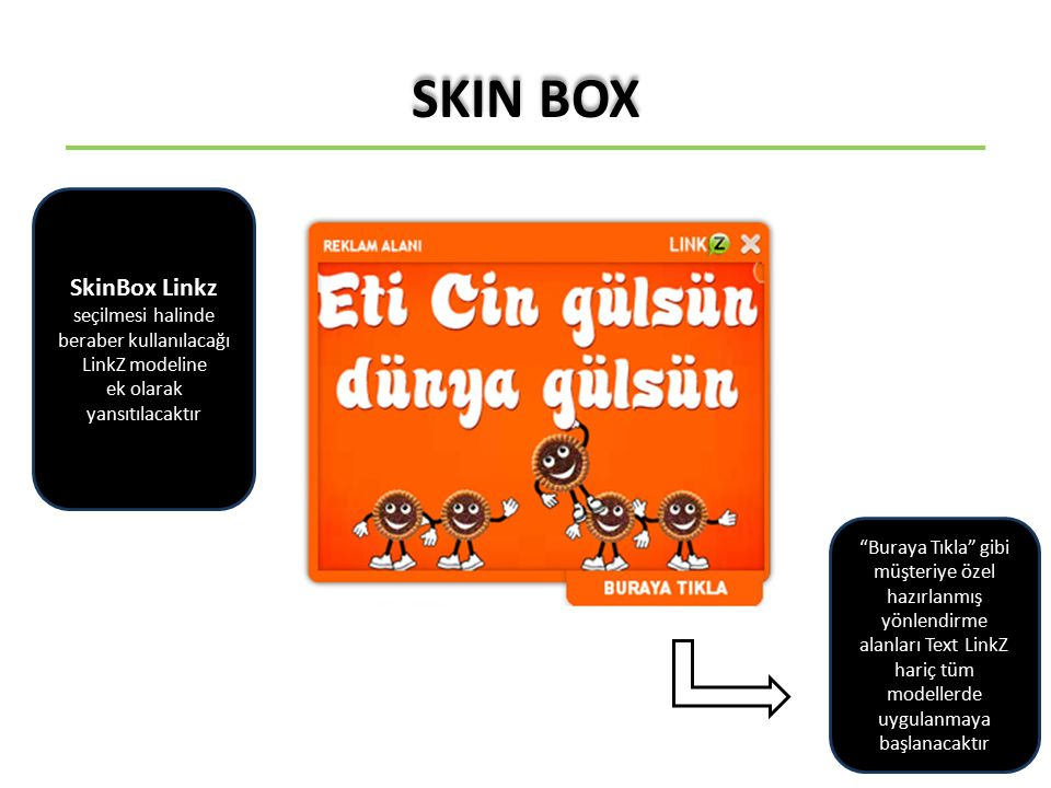 SkinBox Linkz seçilmesi halinde beraber kullanılacağı LinkZ modeline ek olarak yansıtılacaktır