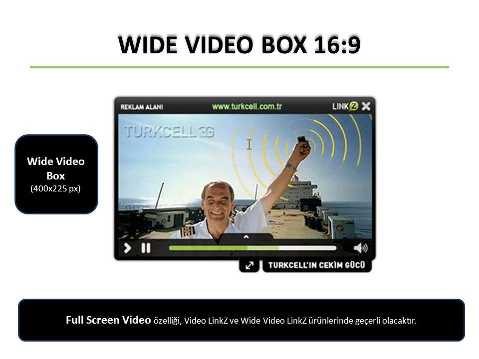 VIDEO LINKZ Full Screen Video özelliği, Video LinkZ ve Wide Video LinkZ ürünlerinde geçerli olacaktır.