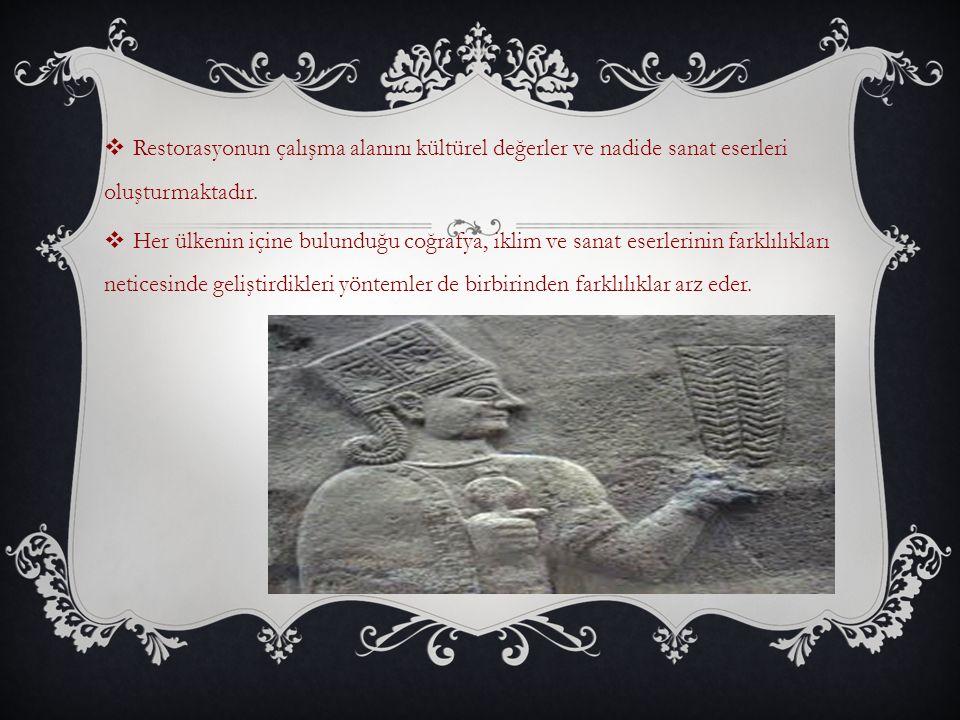  Restorasyonun çalışma alanını kültürel değerler ve nadide sanat eserleri oluşturmaktadır.  Her ülkenin içine bulunduğu coğrafya, iklim ve sanat ese