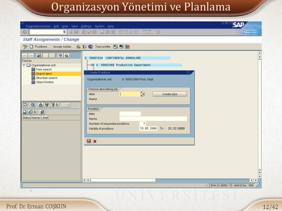 Prof. Dr. Erman COŞKUN Organizasyon Yönetimi ve Planlama 12/42