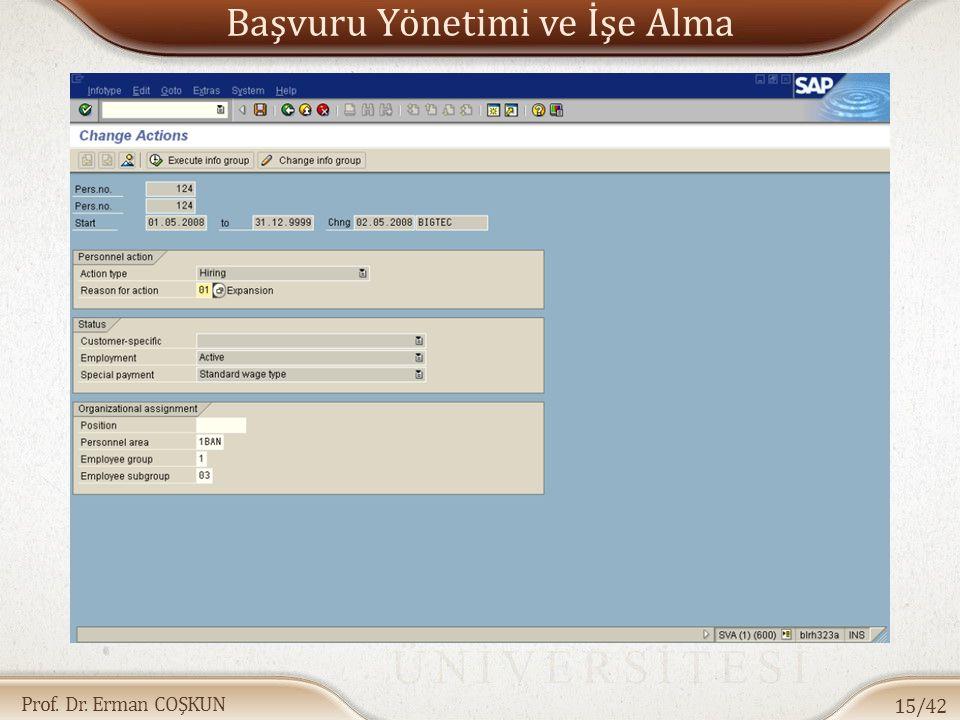 Prof. Dr. Erman COŞKUN Başvuru Yönetimi ve İşe Alma 15/42