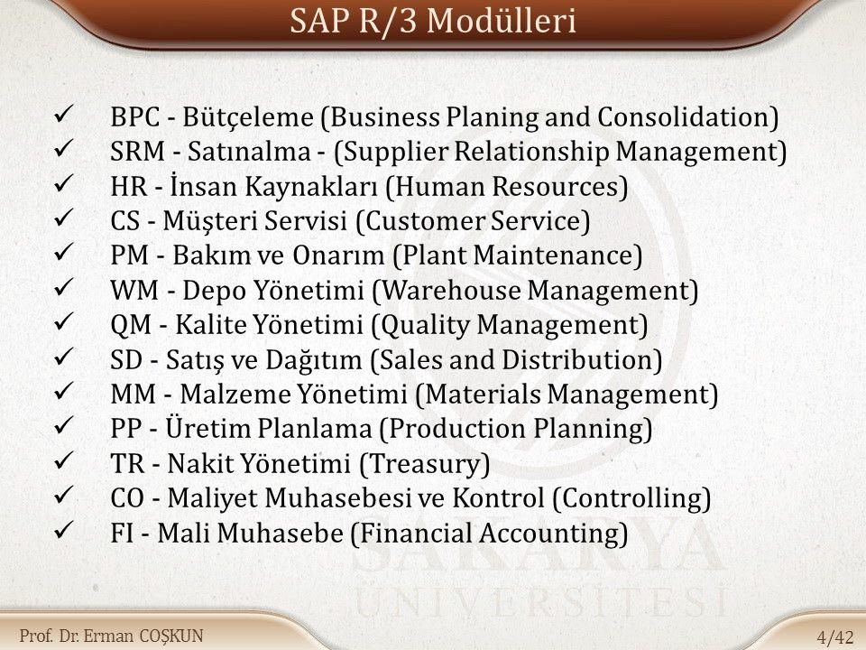 Prof. Dr. Erman COŞKUN SAP R/3 Modülleri BPC - Bütçeleme (Business Planing and Consolidation) SRM - Satınalma - (Supplier Relationship Management) HR