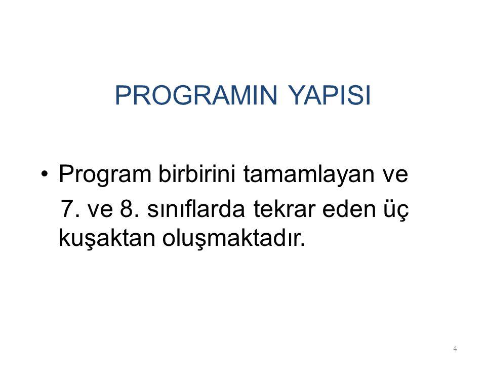 PROGRAMIN YAPISI Program birbirini tamamlayan ve 7. ve 8. sınıflarda tekrar eden üç kuşaktan oluşmaktadır. 4