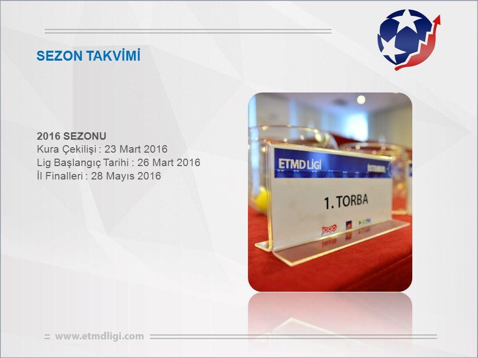 SEZON TAKVİMİ 2016 SEZONU Kura Çekilişi : 23 Mart 2016 Lig Başlangıç Tarihi : 26 Mart 2016 İl Finalleri : 28 Mayıs 2016