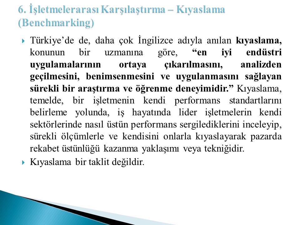 """ Türkiye'de de, daha çok İngilizce adıyla anılan kıyaslama, konunun bir uzmanına göre, """"en iyi endüstri uygulamalarının ortaya çıkarılmasını, analiz"""