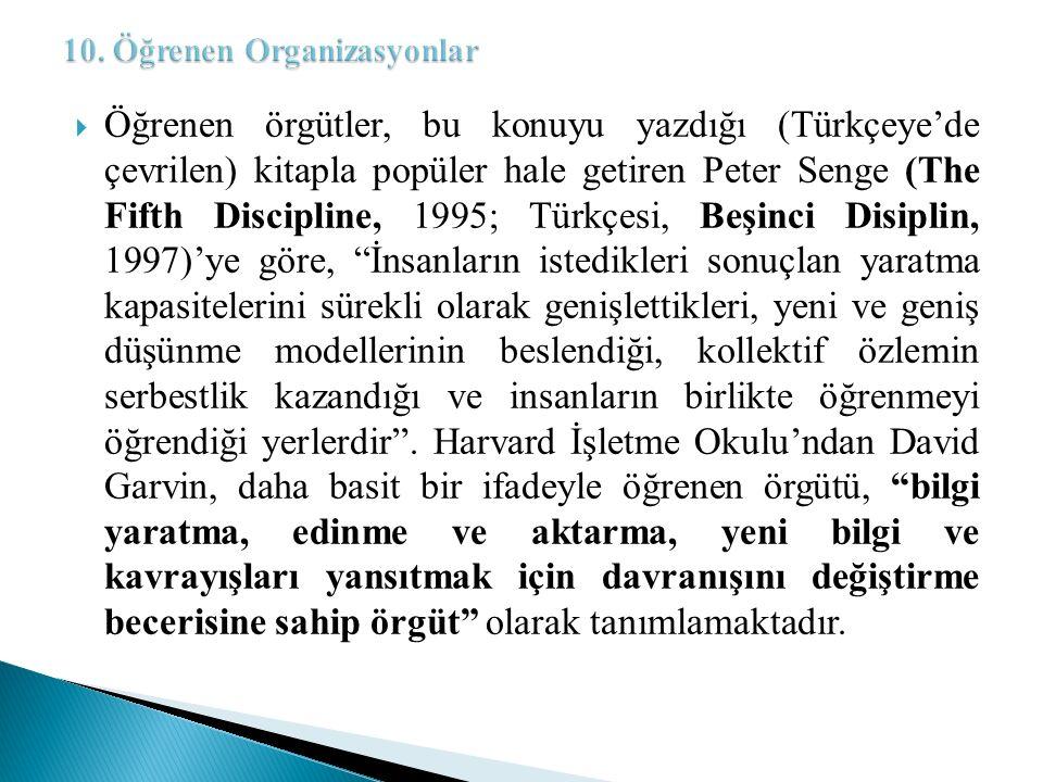  Öğrenen örgütler, bu konuyu yazdığı (Türkçeye'de çevrilen) kitapla popüler hale getiren Peter Senge (The Fifth Discipline, 1995; Türkçesi, Beşinci