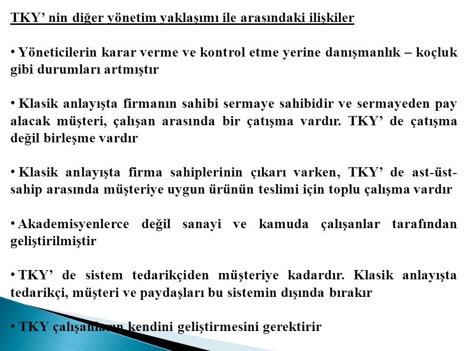 TKY' nin diğer yönetim yaklaşımı ile arasındaki ilişkiler Yöneticilerin karar verme ve kontrol etme yerine danışmanlık – koçluk gibi durumları artmışt