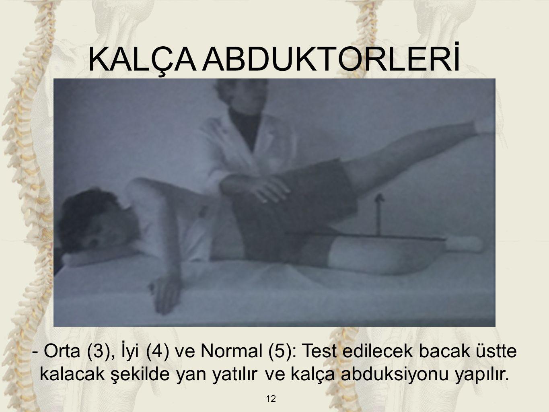 12 KALÇA ABDUKTORLERİ - Orta (3), İyi (4) ve Normal (5): Test edilecek bacak üstte kalacak şekilde yan yatılır ve kalça abduksiyonu yapılır.