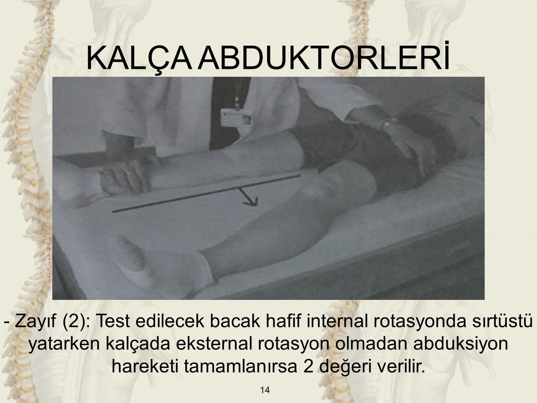 14 KALÇA ABDUKTORLERİ - Zayıf (2): Test edilecek bacak hafif internal rotasyonda sırtüstü yatarken kalçada eksternal rotasyon olmadan abduksiyon harek
