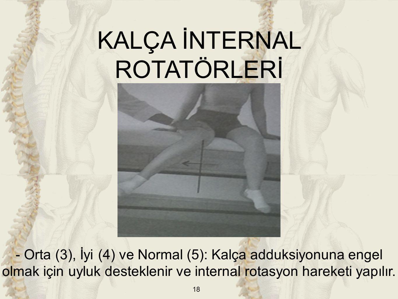 18 KALÇA İNTERNAL ROTATÖRLERİ - Orta (3), İyi (4) ve Normal (5): Kalça adduksiyonuna engel olmak için uyluk desteklenir ve internal rotasyon hareketi