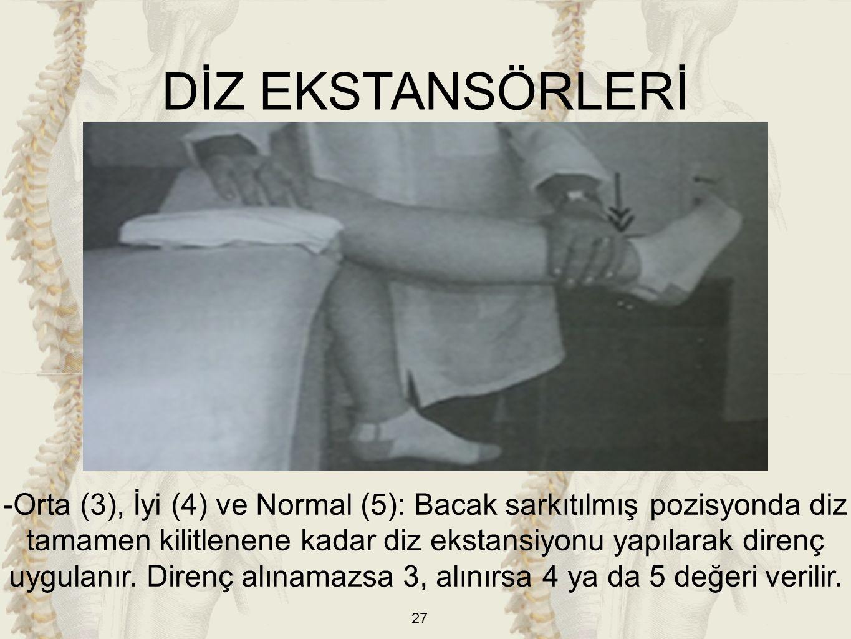 27 -Orta (3), İyi (4) ve Normal (5): Bacak sarkıtılmış pozisyonda diz tamamen kilitlenene kadar diz ekstansiyonu yapılarak direnç uygulanır. Direnç al