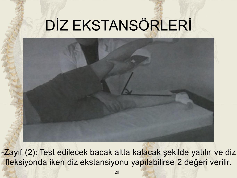 28 -Zayıf (2): Test edilecek bacak altta kalacak şekilde yatılır ve diz fleksiyonda iken diz ekstansiyonu yapılabilirse 2 değeri verilir. DİZ EKSTANSÖ