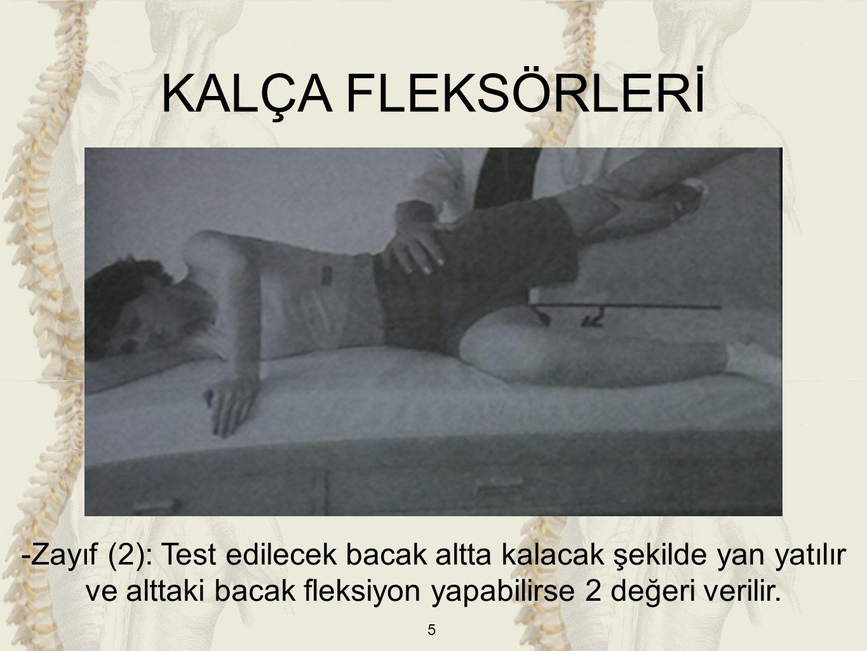 5 KALÇA FLEKSÖRLERİ -Zayıf (2): Test edilecek bacak altta kalacak şekilde yan yatılır ve alttaki bacak fleksiyon yapabilirse 2 değeri verilir.
