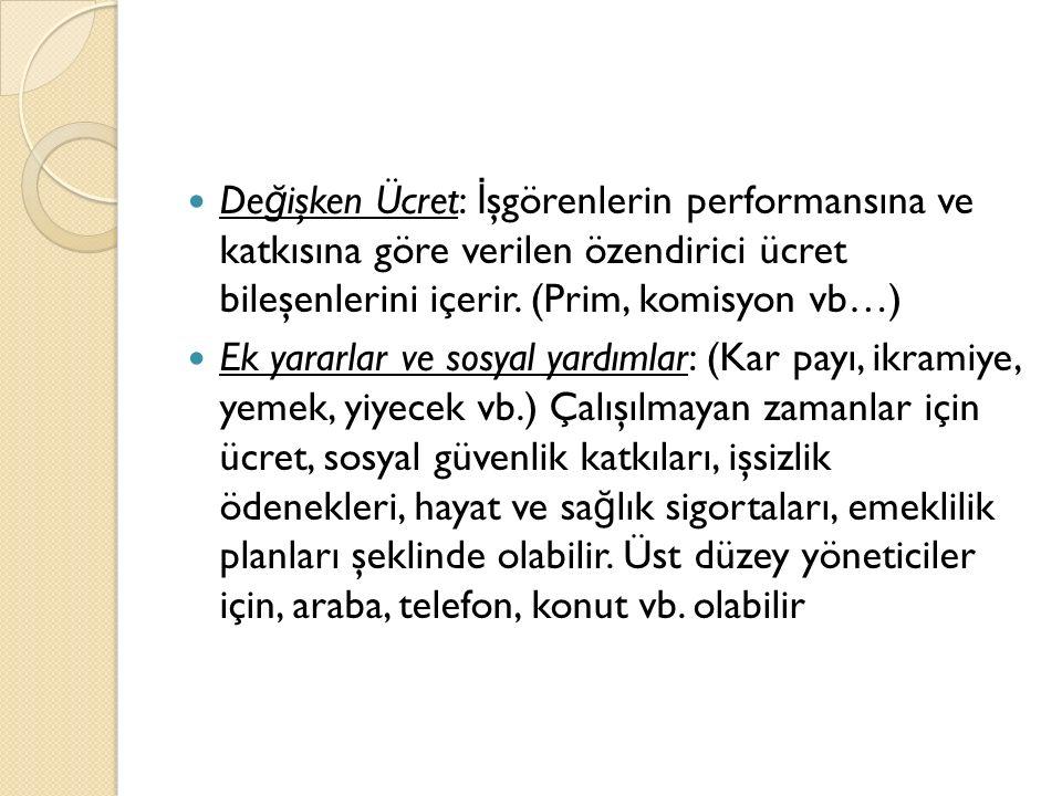 De ğ işken Ücret: İ şgörenlerin performansına ve katkısına göre verilen özendirici ücret bileşenlerini içerir.
