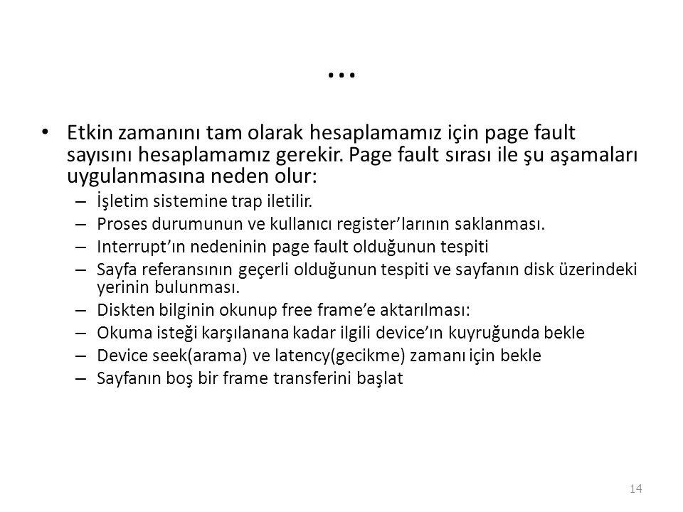 ...Etkin zamanını tam olarak hesaplamamız için page fault sayısını hesaplamamız gerekir.