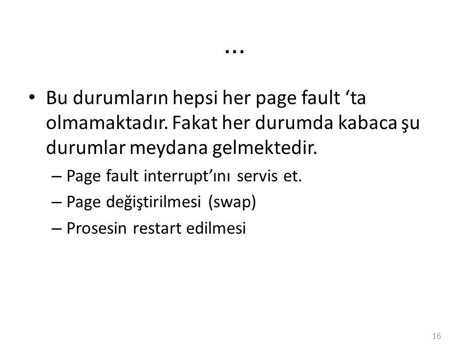 ...Bu durumların hepsi her page fault 'ta olmamaktadır.
