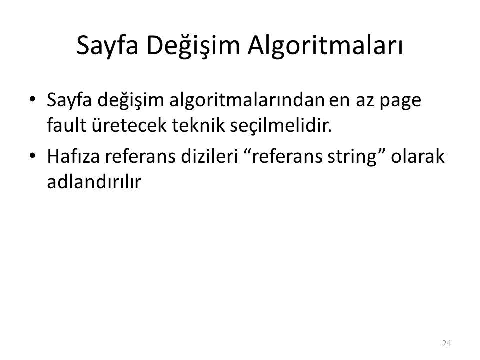 Sayfa Değişim Algoritmaları Sayfa değişim algoritmalarından en az page fault üretecek teknik seçilmelidir.