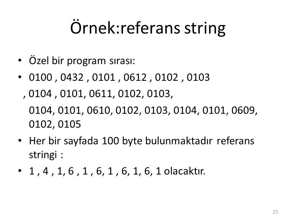 Örnek:referans string Özel bir program sırası: 0100, 0432, 0101, 0612, 0102, 0103, 0104, 0101, 0611, 0102, 0103, 0104, 0101, 0610, 0102, 0103, 0104, 0101, 0609, 0102, 0105 Her bir sayfada 100 byte bulunmaktadır referans stringi : 1, 4, 1, 6, 1, 6, 1, 6, 1, 6, 1 olacaktır.
