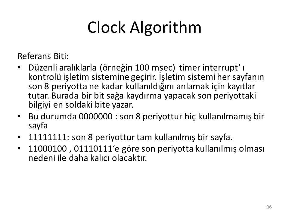 Clock Algorithm Referans Biti: Düzenli aralıklarla (örneğin 100 msec) timer interrupt' ı kontrolü işletim sistemine geçirir.