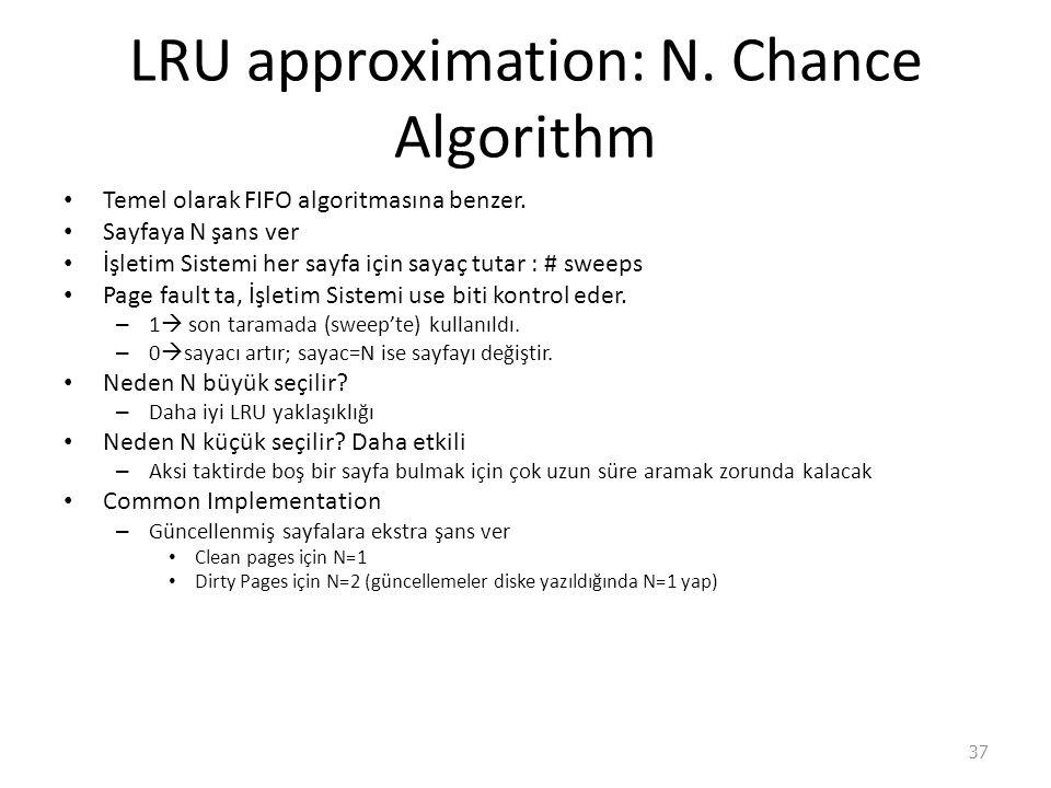 LRU approximation: N.Chance Algorithm Temel olarak FIFO algoritmasına benzer.