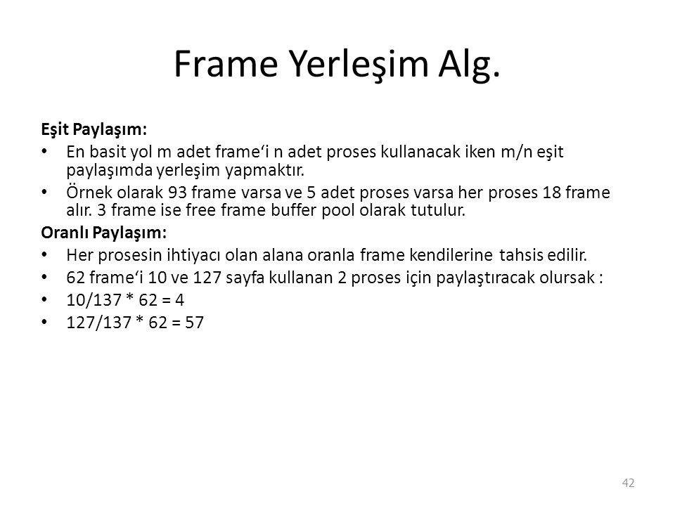 Frame Yerleşim Alg.