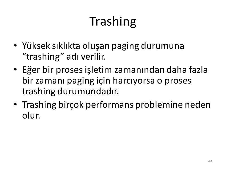 Trashing Yüksek sıklıkta oluşan paging durumuna trashing adı verilir.