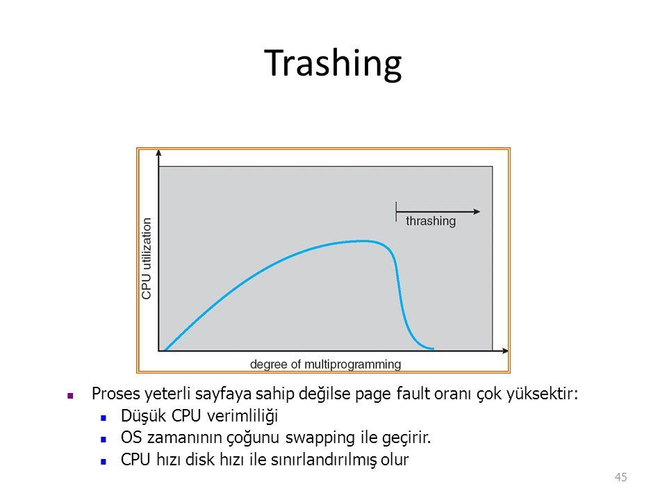 Trashing 45 Proses yeterli sayfaya sahip değilse page fault oranı çok yüksektir: Düşük CPU verimliliği OS zamanının çoğunu swapping ile geçirir.