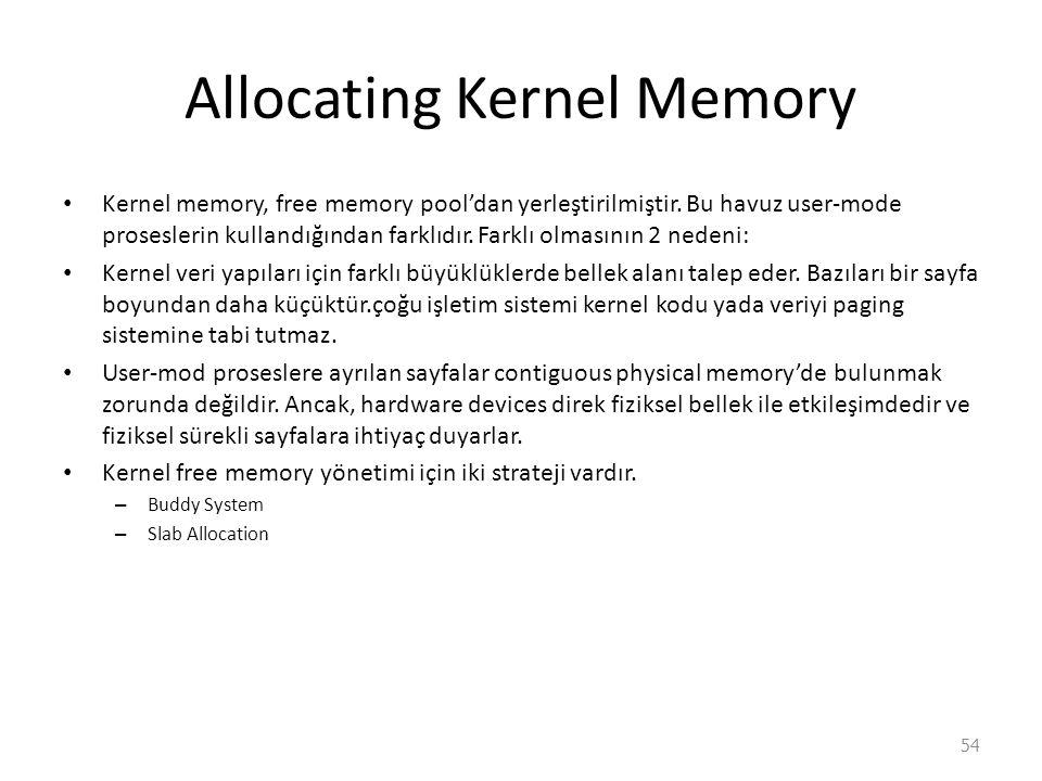 Allocating Kernel Memory Kernel memory, free memory pool'dan yerleştirilmiştir.