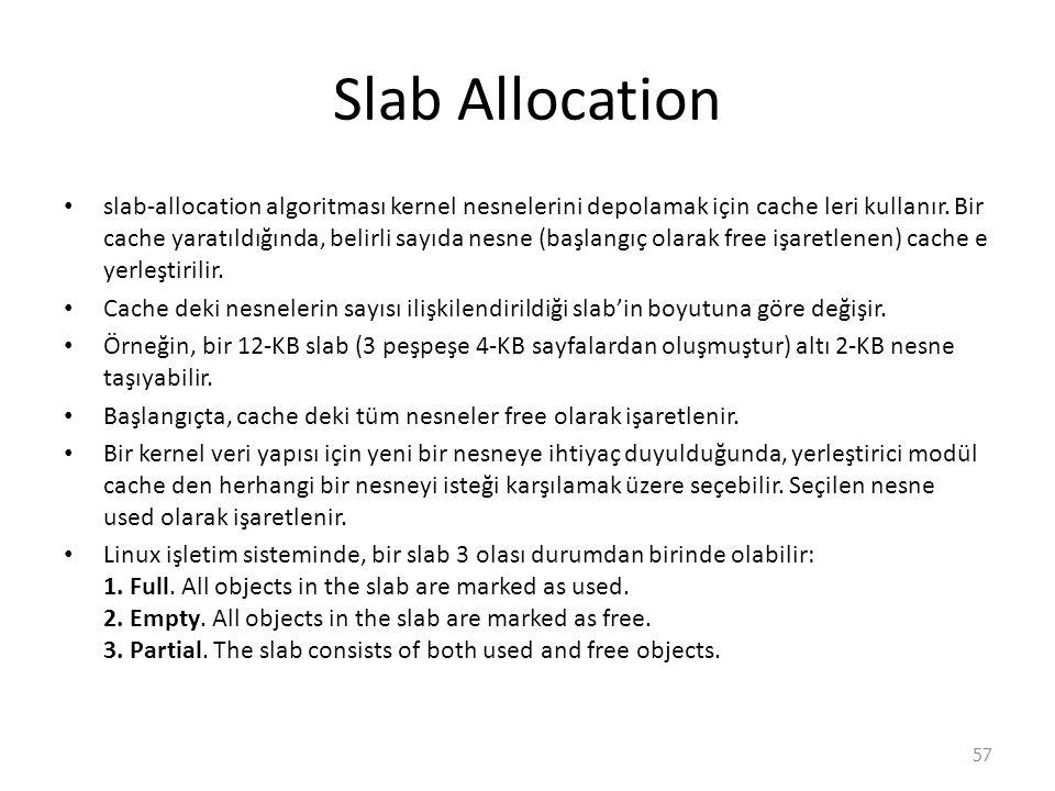 Slab Allocation slab-allocation algoritması kernel nesnelerini depolamak için cache leri kullanır.