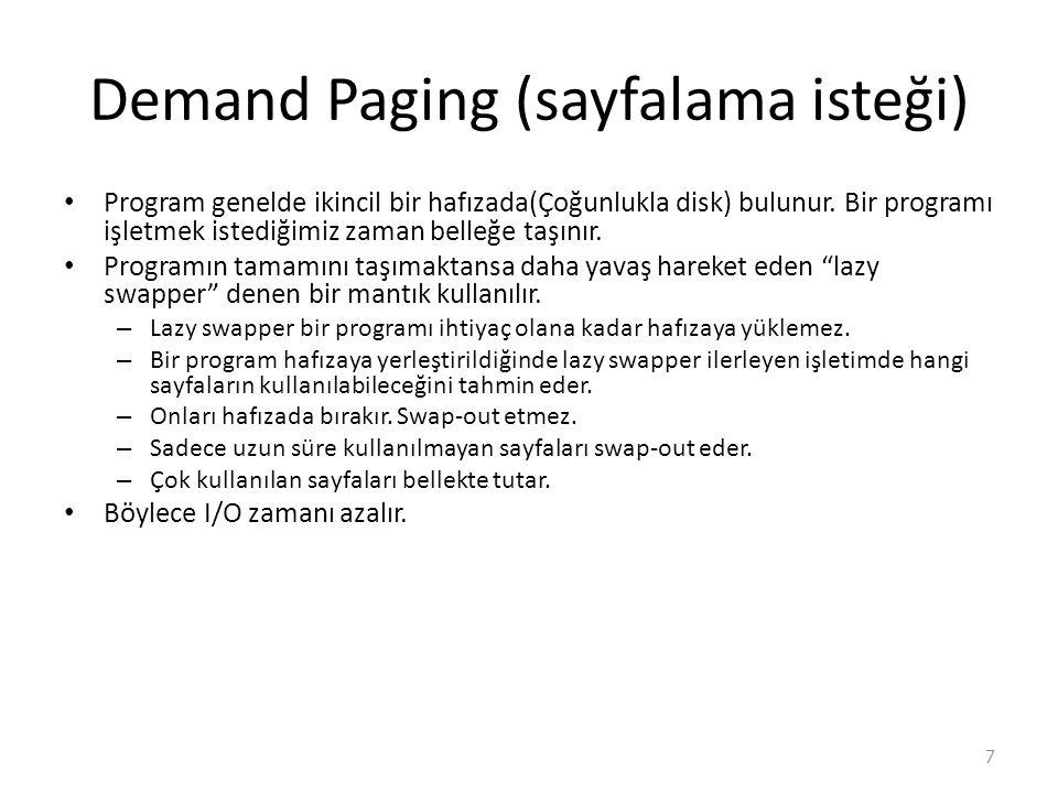 Demand Paging (sayfalama isteği) Program genelde ikincil bir hafızada(Çoğunlukla disk) bulunur.
