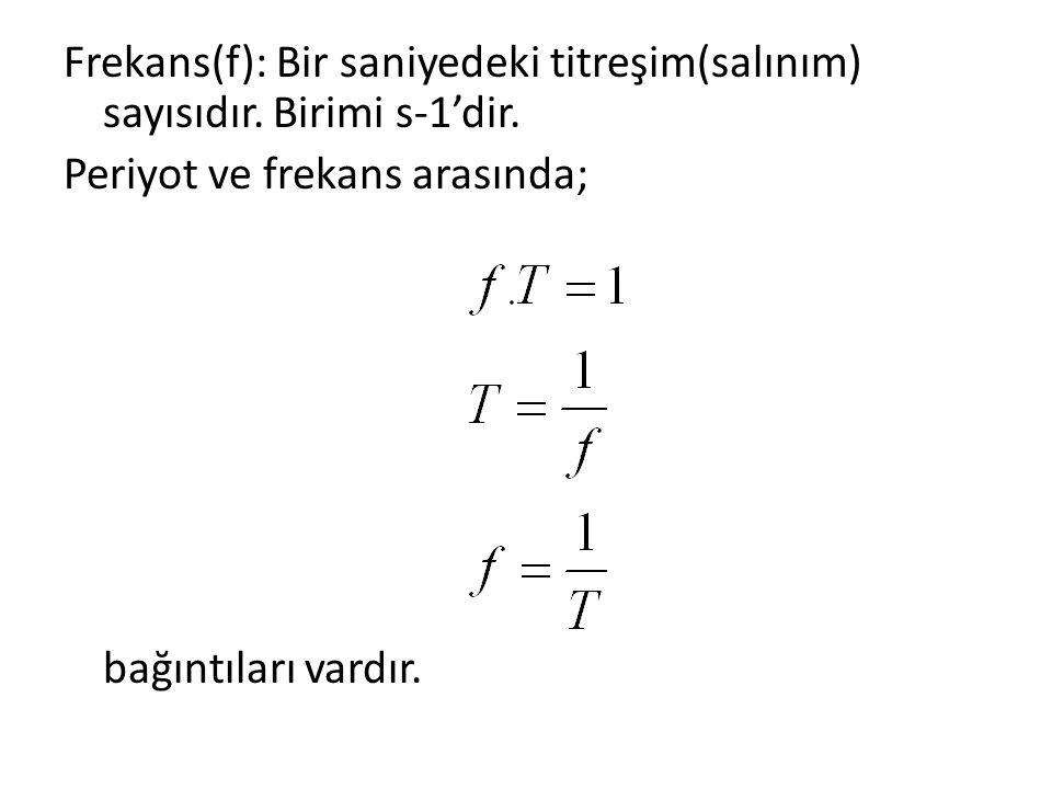 Frekans(f): Bir saniyedeki titreşim(salınım) sayısıdır. Birimi s-1'dir. Periyot ve frekans arasında; bağıntıları vardır.